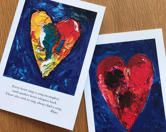 Two cards, Plato heart quote and single heart cards