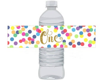 Rainbow Confetti Birthday Water Bottle Labels 1st Birthday, One Instant Download Printable Water Bottle Labels, Digital JPEG PDF 852
