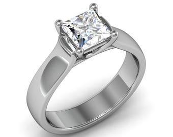 Diamond Ring,Diamond Engagement Ring,Princess Cut Diamond Ring, 1 Carat Diamond Ring,Diamond Gold Ring, Anniversary Diamond Ring