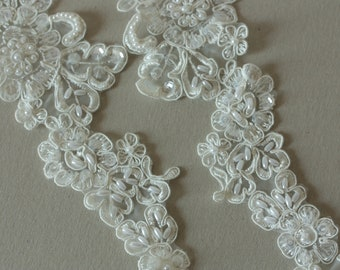 Ivory Bridal Lace applique - Appset-005