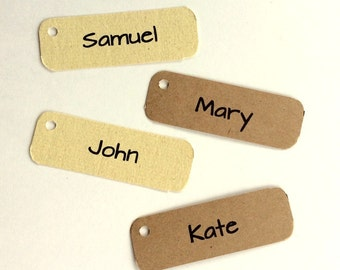 Place cards, table settings, name cards, 1x3 Tags, 50 Wedding Tags, Personalized Tags