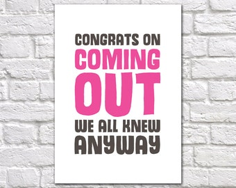 Coming Out Congratulations Card | LGBT Card | Congratulations On Coming Out | Card For Gay Friend Coming Out | Gay Congratulations Card
