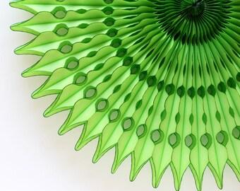 """21"""" Green Honeycomb Fan, Lime Tissue Paper Fan, Lime Green Paper Fan, Wedding Decorations"""