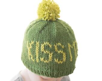 St. Patrick's Day Baby Hat KNITTING PATTERN / Kiss Me I'm Irish / St Patrick Day Gift / Leprechaun Baby Hat/Fair Isle Pattern/Irish Baby Hat