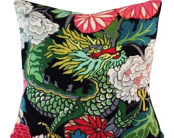 Schumacher Chiang Mai Dragon Ebony Throw Pillow Cover - Decorative Pillow - Both Sides or Solid Black Velvet Back - ALL SIZES AVAILABLE
