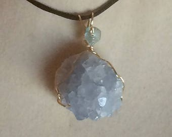 Celestite Crystal Cluster Pendant Wire Wrapped Necklace Jewelry