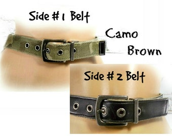 reversible belt - camouflage belt -reversible brown belt - Camo belt - hipster belt -casual belt - small belt -waist 25 to 29 inches  # B 16
