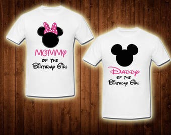 family shirts pink minnie mouse birthday theme mom of the birthday girl dad of the birthday girl