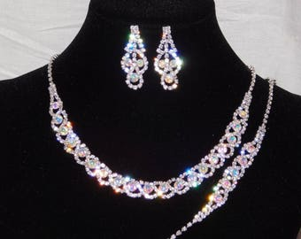 3PC AB Iridescent Rhinestones Necklace, Earrings and Bracelet Silver Set