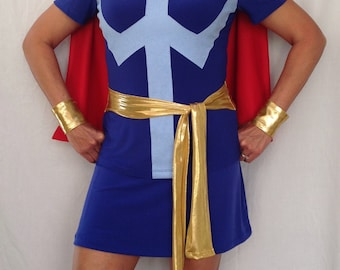 Dr. Strange inspired running outfit; shirt with sash, skirt with shorts, cape, and wrist bands