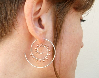 Sterling Silver-14K Gold-Swirl-Spiral-Hoops-Solid Copper Beads-Earrings / Free US Shipping