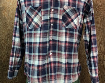 Vintage 1970's Plaid Cotton Blend Flannel Shirt Made In USA Medium Free Shipping