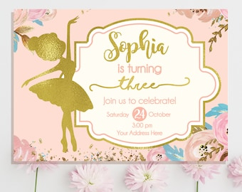 Ballerina Invitation Ballerina Birthday Invitation