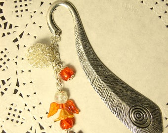 """Jewelry Bookmark """"Angel"""" (silver color, colorful wings)"""