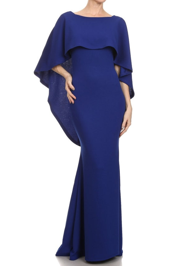 Brand new Maternity Dress With Cape Navy Blue Photography Photoshoot DQ65