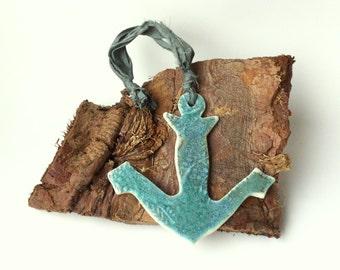Beach decor, porcelain anchor decoration, seaside decor, sailing gift, stocking filler, nautical decor, nautical ornament, nautical gift