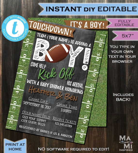 Editable Football Party Invitation Template