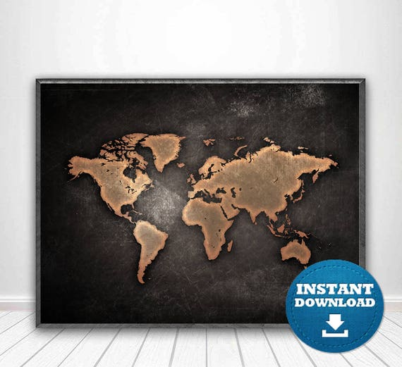 world map print world map poster black and white map black