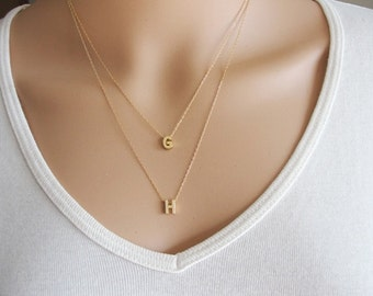 Double strand etsy two gold initial necklace double initial necklace double strand initial necklace couple initial mozeypictures Images