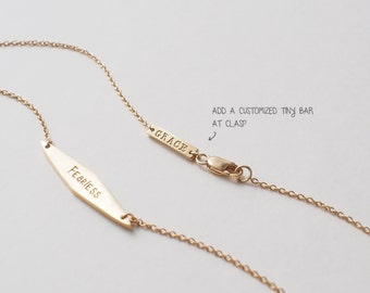 Tiny Bar Tag Add-on - Personalized Dainty Bar at Clasp - #MD6