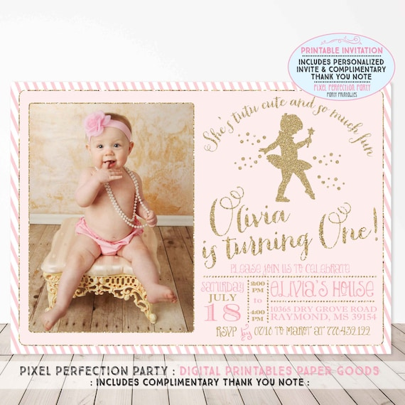 Ballerina Invitation Ballerina Birthday Invitation Pink & Gold