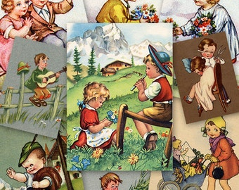 Children ATC ACEO cards Digital Collage Sheet for Scrapbooking Altered Art Victorian Style / AC27