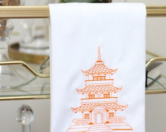 pagoda 5 guest towel, pagoda decor, chinoiserie decor, orange decor, pagoda embroidered towel, wedding gift, anniversary gift, graduation