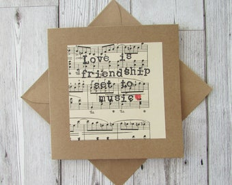 Love is Friendship Quote Card, Music Lovers Greeting Card, Anniversary Card, Love Greeting Card, Wedding Card, Engagement Card