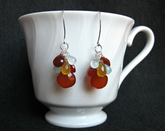 Silver Chalcedony Earrings- Multicolor, Gemstone Cluster