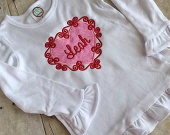 Swirly heart/personalized/ valentines shirt