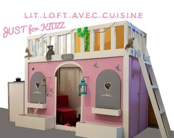 Loft bed with kitchenette