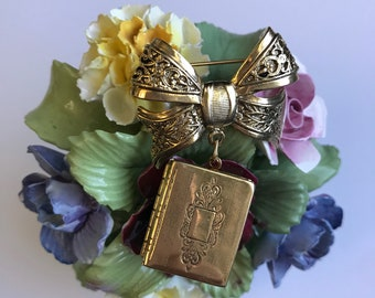 Vintage Gold Tone Locket Brooch Bow Victorian Revival