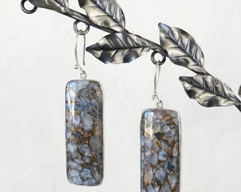 Copper Calcite and Sterling Silver Statement Drop Earrings