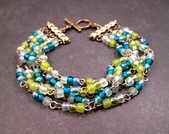Multi Strand Bracelet, Blue White Green Glass Beaded, Brass Cuff Bracelet, FREE Shipping U.S.