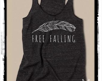Free Falling shirt tshirt Ladies Heathered Tank Top Shirt screenprint Alternative Apparel
