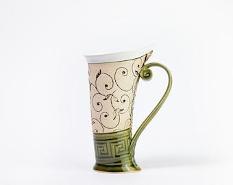 Ceramic Mug, Tea Mug,Handbuilding, Ceramics and pottery, Ceramic cup, Tea cup, Coffee cup, Coffee mug, Handmade mug, Unique mug, Green mug