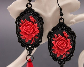 Red rose Gothic Earrings - in black with cameo and blood red Swarovski crystal pendants - Victorian Gothic Jewelry