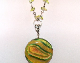Extra Long Dragon Veined Agate Pendant and Polished Glass Chip Handmade Chain/ Orange and Green Onyx Agate/ Green and Orange Agate Pendant