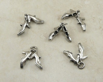 5 Dancing Shoe Dangle Charms > Dance Tap Jazz Ballroom Clog Cha Cha Silver Finish American made - Lead Free Pewter - I ship internationally
