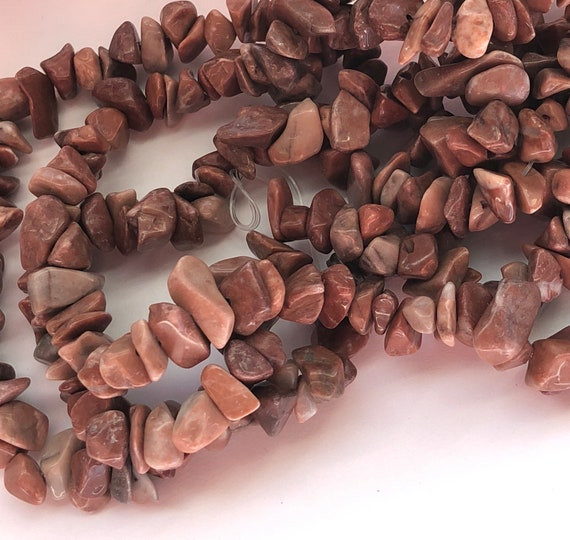 Red Flower Jasper Gemstone Chip Beads - 6 to 12mm, Red Colors, Irregular Smoothed Shapes, Double Strand, 34 Inches, Small Size, Stringing