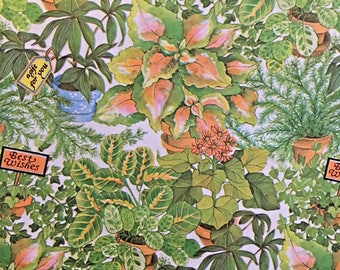 """Vintage present Wrapping Paper Sheets """"Best Wishes A Gift For You"""" Potted Plants with Signs Gift Wrap, Lot of 7 Sheets"""