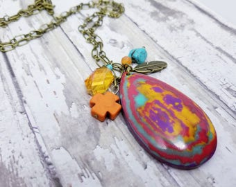 Colorful turquoise stone long statement necklace, rainbow colored jewelry, large teardrop pendant with orange teal and purple, Summer gifts