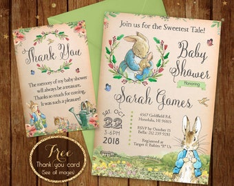 Peter Rabbit Invitation, Printable Peter Rabbit Invitations, Peter Rabbit Baby Shower, Peter Rabbit Printables, Baby Shower Peter Rabbit