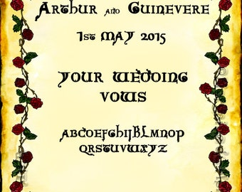 Red Roses Custom Marriage Vows Print Handfast Certificate 11 x14 Wedding Medieval Renaissance Fairytale Valentine's Day Wall Art