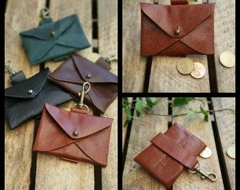 Leather keychain, leather Keyring * envelope * congac