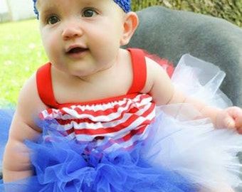 Fireworks Tutu , Red,White and Blue