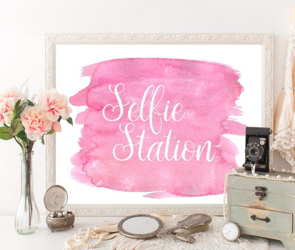 Selfie station sign pink selfie station props selfie props zoom junglespirit Images