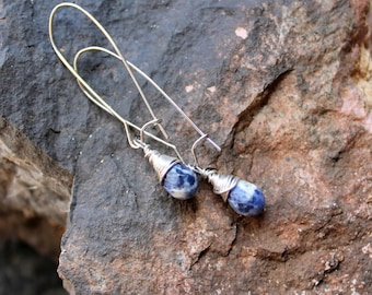 denim earrings / blue marbled gemstone earrings FREE domestic SHIPPING petite blue and white sodalite faceted earrings