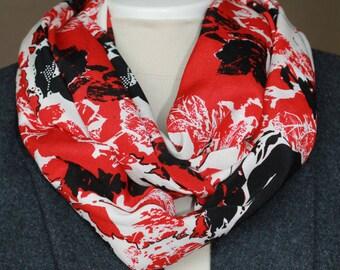 Infinity scarf. Red infinity scarf. Scarf. Black infinity scarf. Mothers day gift. Birthday gift. Floral infinity scarf.