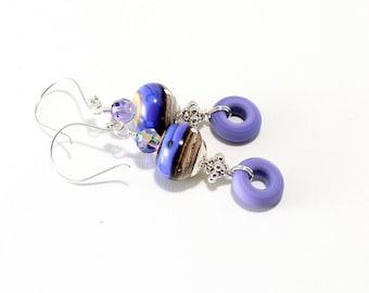 Lavender Lampwork Bead Earrings. Light Purple Beaded Earrings. Boho Dangle Earrings. SS Bali Beads. Lampwork Jewelry. Gifts For Her.
